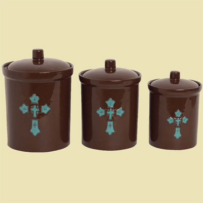 Turquoise Cross Ceramic Canister Set