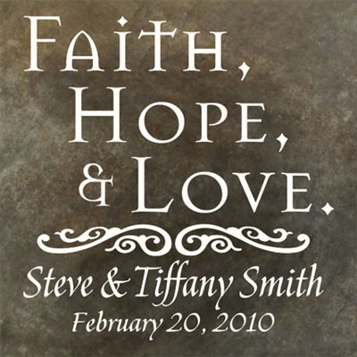 Personalized Wedding Plaque with Faith, Hope & Love