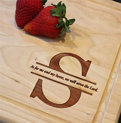 Personalized Cherry Cutting Board with Initial