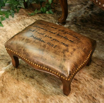 Leather Footstool Embossed with Scripture