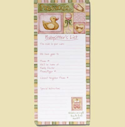 Precious Magnetic Babysitter's List - Pink