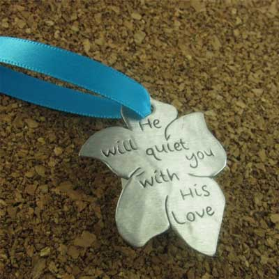 He Will Quiet You With His Love Pewter Ornament