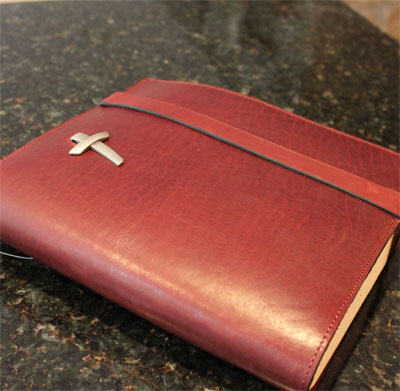 Latigo Bible Cover with Strap Closure