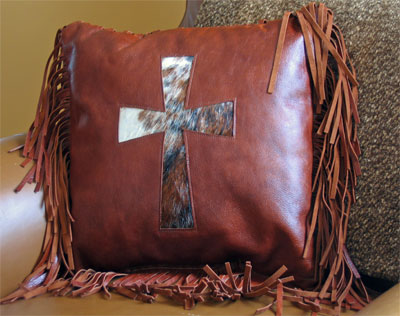 Leather Cow Hide Cross Pillow