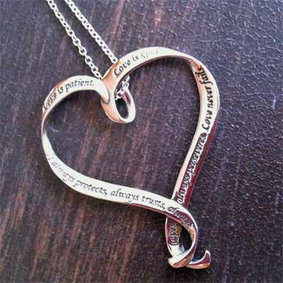 Heart Necklace – 1 Corinthians 13.. Love is…