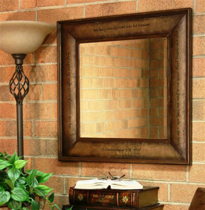 Leather Scripture Mirror – 2 Corinthians 3:18