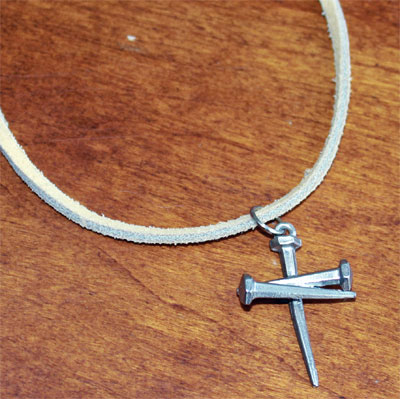 Nail Cross on Tan Suede Choker