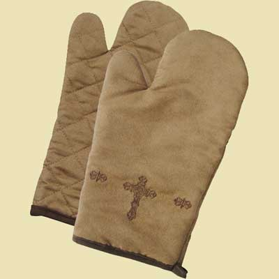 Oven Mitt with Embroidered Cross