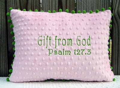 'Gift from God' Pink/Green Pillow