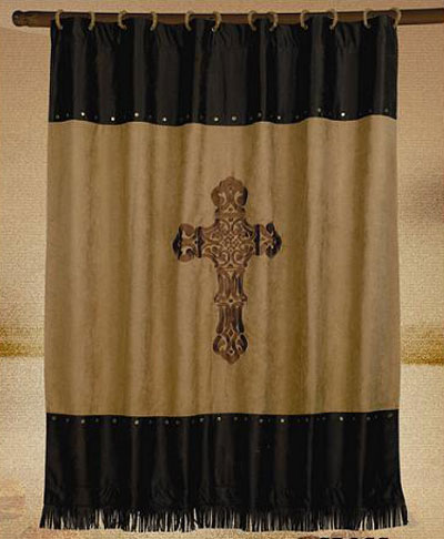 Barbwire Cross Embroidered Shower Curtain