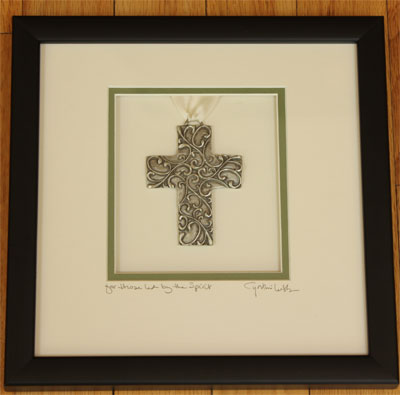 Cynthia Webb Framed Pewter Ornament - Spirit Cross