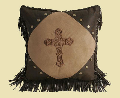 Diamond Cross Pillow – Dark Tan