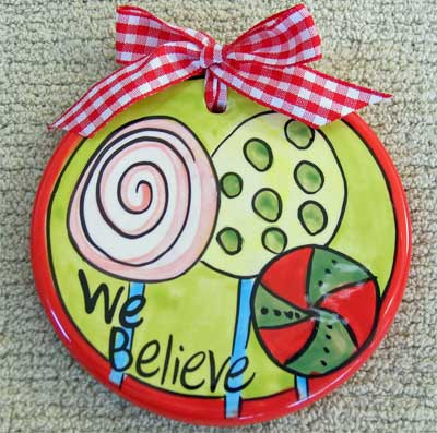 We Believe Flat Ceramic Handpainted Ornament