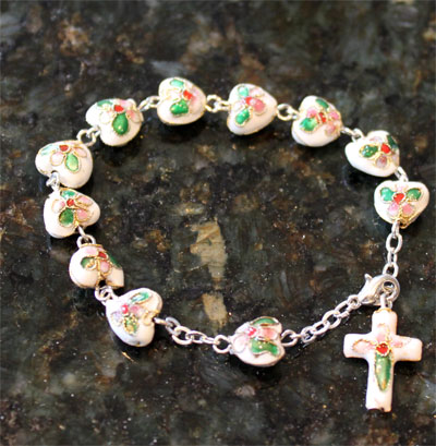Rosary Bracelet with White Heart Beads