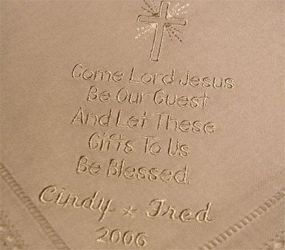 Personalized White Shining Cross Dinner Napkins - Set of Four